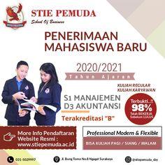Dibuka Pendaftaran Calon Mahasiswa/i Baru Kampus STIE PEMUDA SURABAYA TA. 2020/2021. Prodi D3 - Akuntansi & S1 - Manajemen. Pendaftaran masih terbuka . Kirimkan pesan ke nomor / bisa langsung datang ke kampus kami.   Cek link di bawah ini...! Address : Jl. Bung Tomo, No. 8 Surabaya Phone : (031) 503 35 98 Fax : (031) 505 70 50 Website : www.stiepemuda.ac.id Instagram : @stiepemuda.sby #Kuliahsambilkerja #kuliahkelaskaryawan #kuliahs1surabaya #kuliahs1murahsurabaya