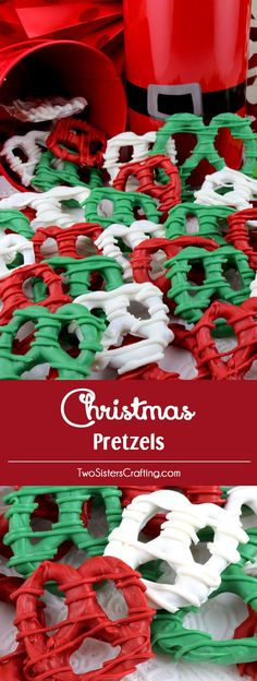 Christmas Pretzels - sweet, crunchy and delicious - an easy to make Christmas Dessert that would be fun to serve at a Christmas Party or give as a Holiday Gift. The kids will love to help make this delicious Christmas treat. Pin this yummy Christmas Candy Christmas Pretzels, Christmas Snacks, Christmas Cooking, Christmas Goodies, Christmas Candy, Christmas Holidays, Christmas Parties, Christmas Deserts For Kids, Xmas
