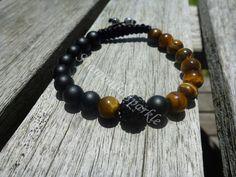 Yin Yang Golden Tigers Eye and Matte Black Agate Shamballa Bracelet