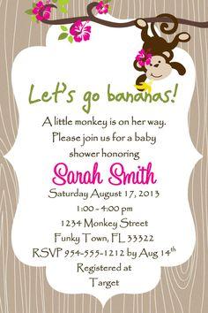 Monkey Baby Shower Invitation - Girl