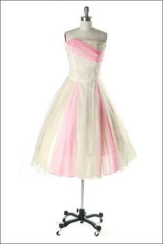 Vintage 1950s Dress . Pink Chiffon . Ivory . Full Skirt . Shirred . Strapless . XS/S . 1704. $165.00, via Etsy.