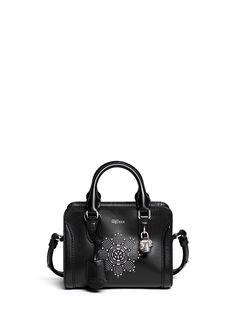 ALEXANDER MCQUEEN - 'Padlock' mini floral stud leather bag - on SALE   Black Top Handles   Womenswear   Lane Crawford - Shop Designer Brands Online