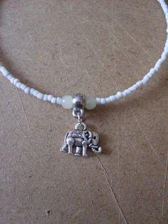 Antique white bead anklet tibetian silver elephant charm 26cms extender handmade