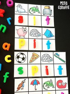 Short i word families are so fun with these cvc games! Kids look at the beginning sounds for each picture to figure out the letter... I absolutely love these for kindergarten, first grade, or even preschool reading activities! Preschool Reading Activities, Short Vowel Activities, Short E Words, Cvc Word Families, Sounding Out Words, Phonics Sounds, Beginning Sounds, Short Vowels, Fun Math