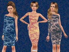 One Shoulder Lace Pencil Dress by BluElla - Sims 3 Downloads CC Caboodle