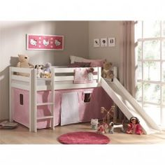 Halfhoogslaper met glijbaan Astrid grenen wit - tent roze/wit hart