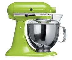Green Apple - Artisan Tilt-Head Stand Mixer     300W iconic die-cast construction, tilt-head design, direct drive, planetary mixing action, includes dough hook, flat beater, wire whisk, pouring shield and 4.8L stainless steel bowl