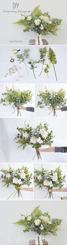 Greenery and dahlia bouquet, DIY Greenery wedding bridal bouquet, Tropical wedding inspiration Diy Wedding Bouquet, Diy Bouquet, Diy Wedding Flowers, Floral Wedding, Trendy Wedding, Wedding Ideas, Wedding Simple, Bridal Bouquets, Dahlia Bouquet
