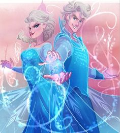 """Another suggestion I procrastinated over months to do& Elsa and her rule 63 version :) Foreshortening is a bitch"" comment by artist. Very talented! Love the artwork! Disney Pixar, Disney Princes, Disney Frozen Elsa, Disney Fan Art, Disney Animation, Disney And Dreamworks, Disney Movies, Disney Characters, Gender Bent Disney"