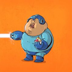 Fat Pop Culture – New obese and geeky illustrations by Alex Solis! Fat Cartoon Characters, Cartoon Art, Fat Character, Character Design, Cultura Pop, Alex Solis, King's Quest, Apple Watch Wallpaper, Mega Man