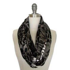 Animal print scarf , infinity scarf , circle scarf , black grey white