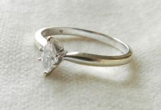Diamond Engagement Ring White Gold, Diamond Stacking Ring White Gold Marquis Cut - Love this, super simple and pretty.