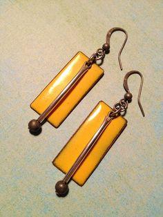 Yellow Enamel Earrings / Enamel Earrings with by Lammergeier