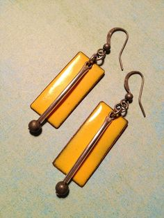 Yellow Enamel Earrings / Enamel Earrings with by Lammergeier