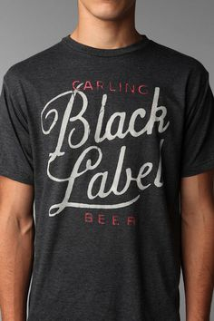 Lovely hand-written typography printed onto a Heather T-shirt.   Black Label Tee