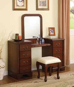 Louis Philippe Brown Vanity with Stool 06565