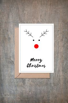 Chrismas Cards | Rudolph the red nosed reindeer | Greeting Cards | Gift Card | Rudolph Reindeer | Reindeer | Handmade | Christmas Greeting