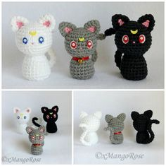 Sailor Moon Cats - Luna Artemis and Diana by xMangoRose on DeviantArt Chat Crochet, Kawaii Crochet, Crochet Dolls, Crochet Baby, Free Crochet, Sailor Moon Crochet, Sailor Moon Cat, Crochet Cat Pattern, Crochet Amigurumi Free Patterns