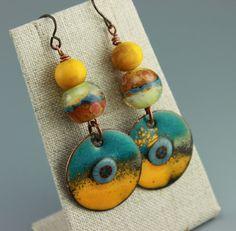 Tribal Earrings, Boho Earrings, Tribal Boho Earrings, Gypsy Earrings, Yellow Earrings, Turquoise Earrings, #665-114 by ChrisKaitlynJewelry on Etsy