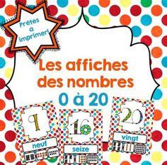 Number Posters from 1-20 including the number word, tally marks, base 10.  Cet ensemble contient 20 affiches sur les nombres. Chaque nombre est représenté des façons suivantes: en mot, en trait, en bloc base 10 et en boîte de 10.  Une coquille s'est glissée dans le document?