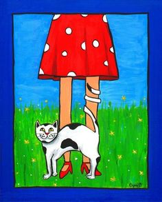 """Pretty Please - Cat - Polkadots"" original painting by AliceinParis"