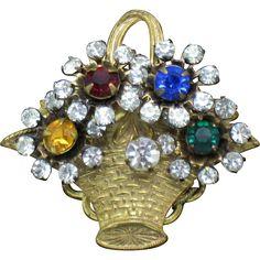Signed MIRIAM HASKELL  Gilt Rhinestone Flower Basket Brooch