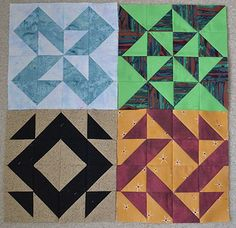 Half Square Triangle Quilt - Set 4 by BryeLynn, via Flickr