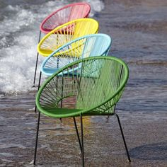 fauteuil de jardin r tro en fils scoubidou bleu turquoise kadom fauteuils de jardin 69. Black Bedroom Furniture Sets. Home Design Ideas