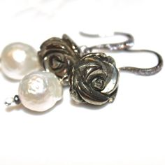 Kasumi Style Pearl Earrings Large Baroque Pearl Earrings by FizzCandy, $70.00