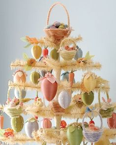 How to make ornaments for your Easter tree - from pom-pom chicks and pipe cleaner nests, to thread wrapped eggs - how fun! Martha Stewart I'll have to do this -I already have the tree! Happy Easter, Easter Bunny, Easter Eggs, Easter Food, Easter Table, Easter Crafts, Holiday Crafts, Easter Tree Decorations, Easter Decor