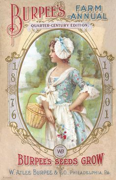 Burpee's 1901 with vintage lady dressed in blue and carrying a straw basket, white bonnet, collar and hat.