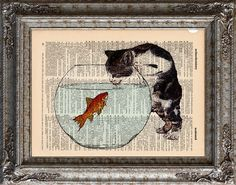 New to EcoCycled on Etsy: Cat and Goldfish 1 on Vintage Upcycled Dictionary Art Print Book Art Print Recycled Repurposed Kitten Fish (10.00 USD)