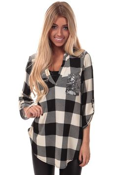 Lime Lush Boutique - Ivory Checkered Top with Silver Sequin Detail, $38.99 (http://www.limelush.com/ivory-checkered-top-with-silver-sequin-detail/)