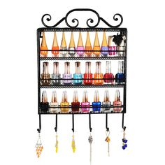 Amazon.com - Black Metal Wall Mounted 3 Shelf 6 Hanger Hooks Nail Polish Holder / Jewelry Hanger - Jewelry Armoires
