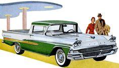 Ford Ranchero, 1958; Vintage car ad.