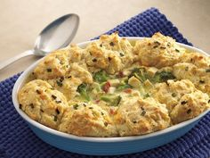chicken broccoli casserole with cheesy biscuit topping