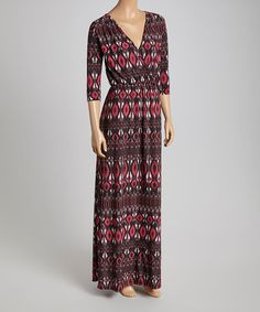 Another great find on #zulily! Burgundy & Black Ikat Surplice Maxi Dress #zulilyfinds