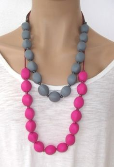 Teething Beads Adjustable Necklace for Mommy -  Chewable, BPA-free, Food-Grade Silicone Beads on Satin Cord on Etsy, $16.00