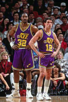 News Photo : Karl Malone and John Stockton of the Utah Jazz. John Stockton, Karl Malone, I Love Basketball, Basketball Pictures, Basketball Legends, Basketball Shoes, Basketball Cookies, Basketball Motivation, Basketball Videos