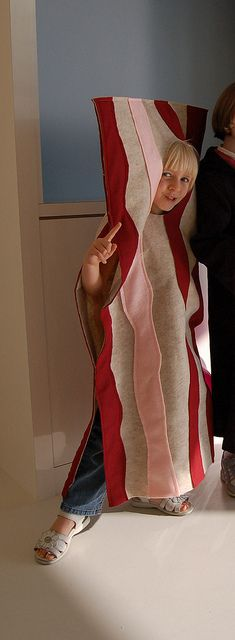"""Craft felt bacon costume I made for my daughter in 2010. Has inner shoulder straps to keep her face in the right spot. Everyone called her """"bacon"""" for months afterward! ;-)"""