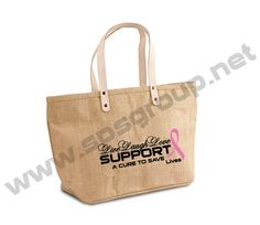 Chic Jute Tote with Leather Handles. #advertising #brand #branding #marketing #jute #totes #promotionalproducts #ecofriendly #gogreen #spsgroupinc