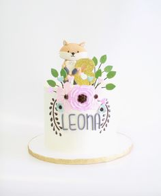 Critter Cake with Fox topper Design by Cake Bash Studio & Bakery, Lake Balboa CA