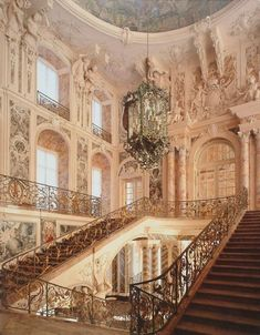 This is the struff straight out of a painting. I love the staircases and the extravagant windows.