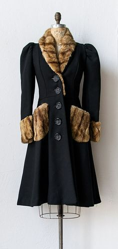 vintage 1930s black princess coat with fur | #1930s #vintage (I'd make sure mine didn't have actual fur on itvthough)