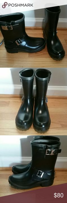 Michael. Kors Devenport moto rain boots 8 m NEW These boots are so bad, in the best way. They are sooooooooo cool. Unfortunately they're just a smudge too small. My loss, your gain. Sold out and hard to find. Michael Kors Shoes Winter & Rain Boots