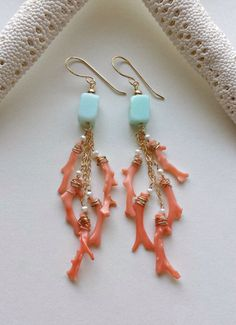 Peach Aqua Dangle Earrings, Peruvian Opal Dangles, Pink Coral Branch Earrings, Beachy Dangle Earrings, Blue Peruvian Opal by BellaAnelaJewelry on Etsy https://www.etsy.com/listing/234137800/peach-aqua-dangle-earrings-peruvian-opal