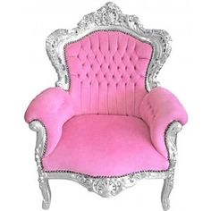 Grand Baroque style chair pink velvet and wood silver