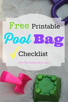 Free Printable Pool Bag Checklist! Print this checklist and keep it with your water activity bag so you never forget your much needed supplies again!