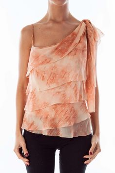 370fbee515e21 Chic tops for any weekend event peach layered one shoulder top by BCBG  MAXAZRIA