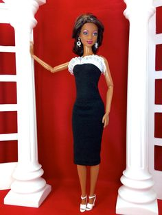 Doll Dress for Barbie  Black and White Lace by EnchantedStyles, $10.00